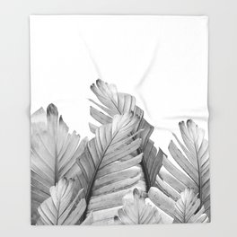 Gray Banana Leaves Dream #1 #tropical #decor #art #society6 Throw Blanket