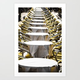 Coffee shops tables on the Piazza San Marco in Venice Art Print