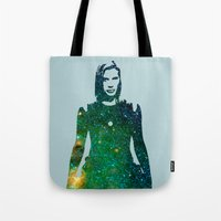 battlestar galactica Tote Bags featuring Starbuck Battlestar Galactica by pithyPENNY