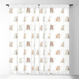Watercolor Woodland Animals Blackout Curtain