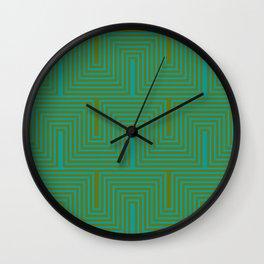 Doors & corners op art pattern in olive green and aqua blue Wall Clock