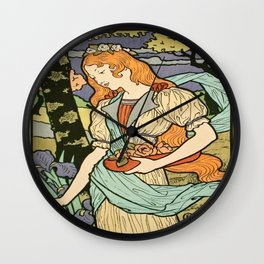 Vintage poster - Woman with flowers Wall Clock