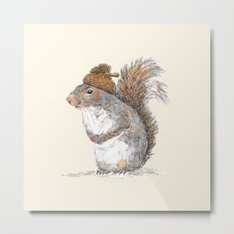 Squirrel with an Acorn Hat Metal Print