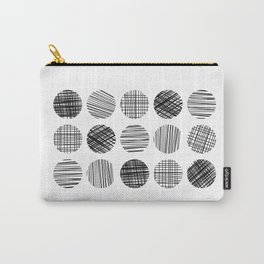 Abstract Lines Circles in Black and White Carry-All Pouch