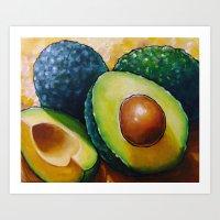 avocado Art Prints featuring Avocado  by Na Liu Cherry