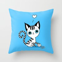 kitten Throw Pillows featuring Kitten by Freeminds