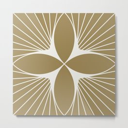 Diamond Series Floral Diamond White on Gold Metal Print