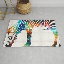 Colorful Zebra Art by Sharon Cummings Rug