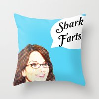 valar morghulis Throw Pillows featuring Shark Farts by beatrice