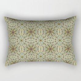 Hand Drawn Nature Mandala Autumn Tones Seamless Flowers and Leaves Rectangular Pillow