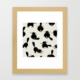Funny big cats, seamless pattern for your design Framed Art Print