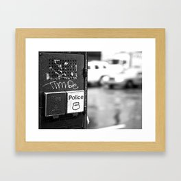 New York Fire and Police black and white Framed Art Print