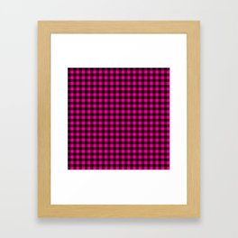 Classic Hot Pink Country Cottage Summer Buffalo Plaid Framed Art Print