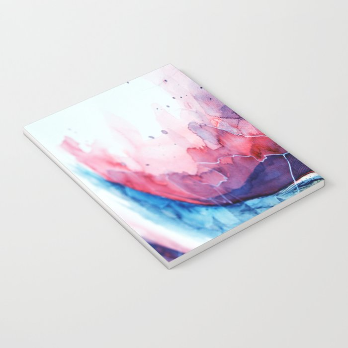 Watercolor magenta & cyan, abstract texture Notebook