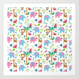 Kids Jungle Pattern Art Print