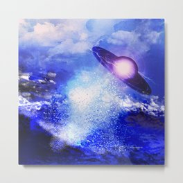 Alien Exits The Ocean Metal Print