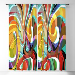 Colorful Abstract Whirly Swirls - V1 Blackout Curtain