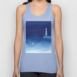 Lighthouse & the paper boat, blue ocean Unisex Tank Top