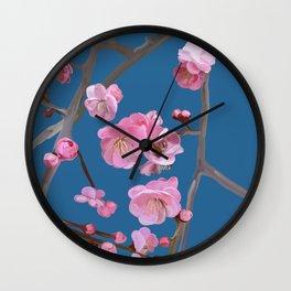 painted plum blossom blue Wall Clock