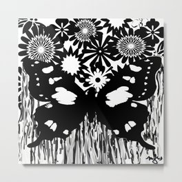 Toile Butterfly Black and White Pattern Metal Print
