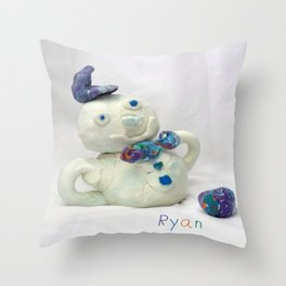 Snowman Sculpture Throw Pillow
