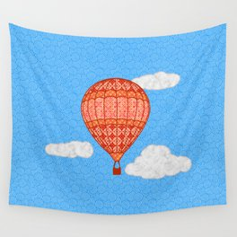 Hot Air Balloon, Coral Orange Against a Blue Sky Wall Tapestry