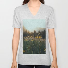 Daisy Meadow in Yosemite Unisex V-Neck