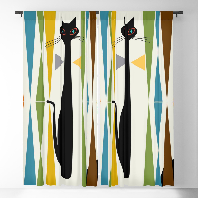 Mid Century Modern Art Cat 2 Blackout Curtain By Oldurbanfarmhouse Society6