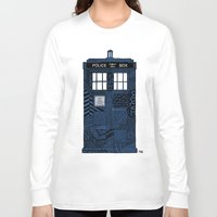 tardis Long Sleeve T-shirts featuring Tardis by Rebecca Bear