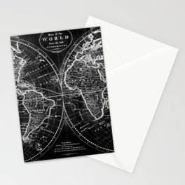 Black and White World Map (1795) Inverse Stationery Cards