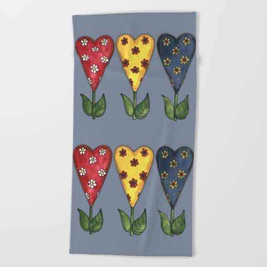 Hearts & Flowers Beach Towel