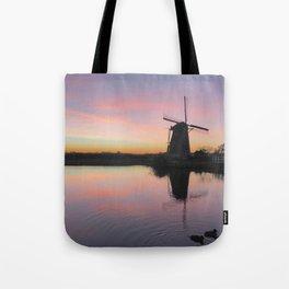 Sunset at Kinderdijk in Holland Tote Bag