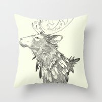 stag Throw Pillows featuring Stag by Breakell