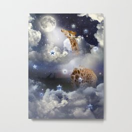 Shoot For The Moon (Giraffe In The Clouds) Metal Print
