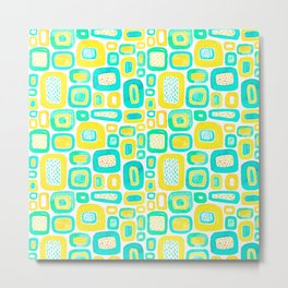 Watercolour - Funky Yellow and Blue Metal Print