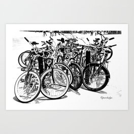 A gahtering of bicycles, black and white Art Print
