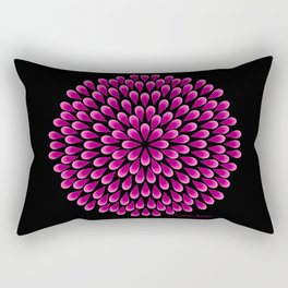 Fuchsia Peacock Mandala on Black Rectangular Pillow