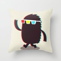 monster Throw Pillows featuring MONSTER 3d by Monster Riot