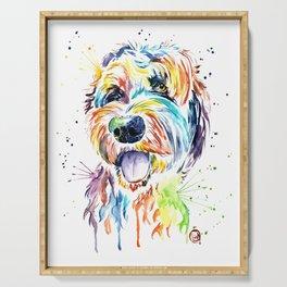 Goldendoodle, Golden Doodle Watercolor Pet Portrait Painting Serving Tray