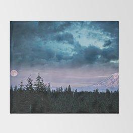 Mount Rainier's Moon Throw Blanket