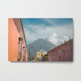 Colorful streets of Antigua Guatemala with volcano views of Volcan de Agua Metal Print