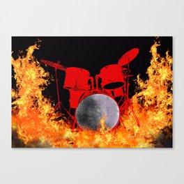 Flaming Red Drum Set Canvas Print