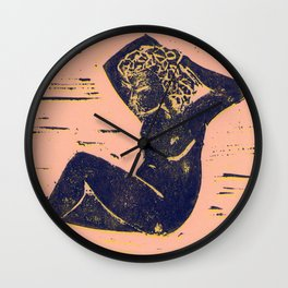 Bathing Girl in Purple/Pink Wall Clock