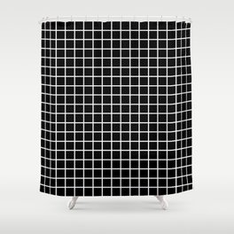 fine white  grid on black background - black and white pattern Shower Curtain