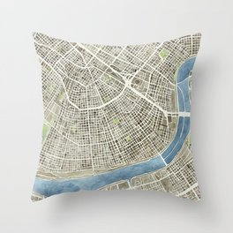 New Orleans City Map Throw Pillow