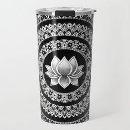 Black and White Lotus Mandala Travel Mug