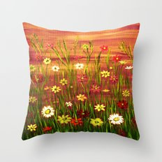 Flowers in the sunrise Throw Pillow