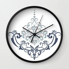 Modern minimalistic damask flourish element illustration Wall Clock