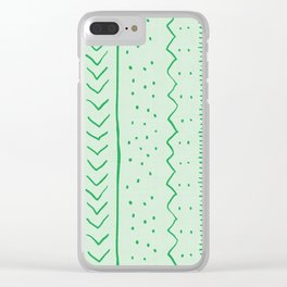 Moroccan Stripe in Green Clear iPhone Case