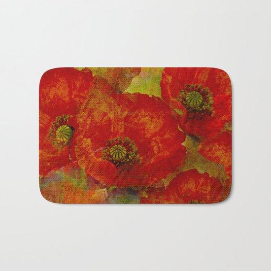 Poppies(red&orange). Bath Mat